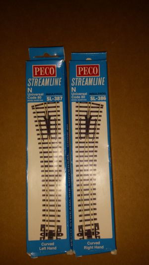 N scale peco code 80 pair of left and right switches. for Sale for sale  Painted Post, NY