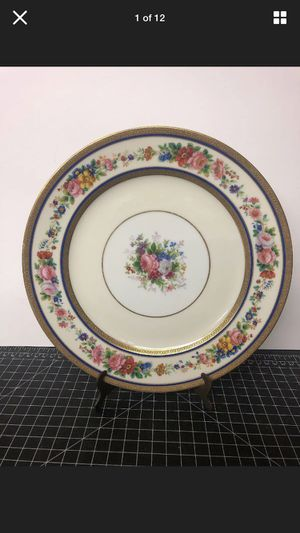 "Antique French serves repose rouard China cabinet plate charger flowers gold hand painted 10"" for Sale in Los Angeles, CA"