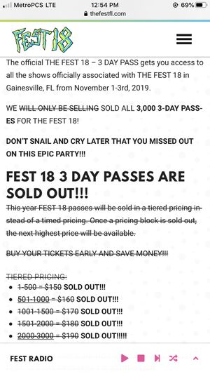 Fest 18 weekend pass for Sale in Gainesville, FL