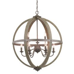 Keowee 9-Light Artisan Iron Orb Chandelier with Distressed Elm Wood Accents Progress Lighting NEW for Sale in Fort Lauderdale,  FL