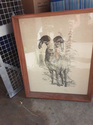 Ram wall drawing in solid oak frame for Sale in Long Beach, CA