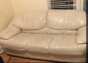 White leather couch for Sale in Las Vegas, NV