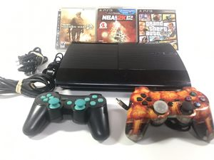 Ps3 super slim 500gb with GTA 5 2 controllers plus 2 more games for Sale in Suwanee, GA