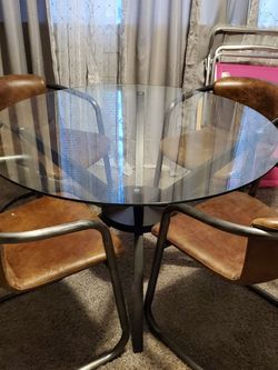 Glass Kitchen Table With 4 Soft Leather Solid Steel Chairs for Sale in Woodbury,  NJ