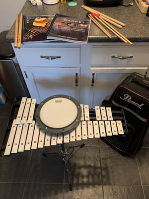SUPERB Pearl Beginning Drum Percussion Kit WITH STICKS & BOOKS for Sale in Dallas, TX