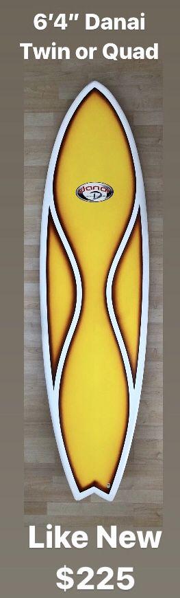 """6'4"""" Danai Surfboard Optional Twin Quad Swallowtail Surf Clean for Sale in Anaheim, CA"""