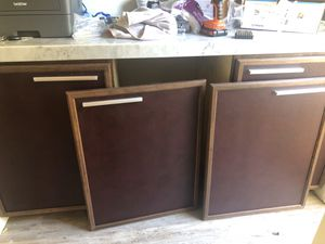 Set of 4 Kitchen Cabinet Doors with Leather Exterior - Make an Offer! for Sale in Tustin, CA