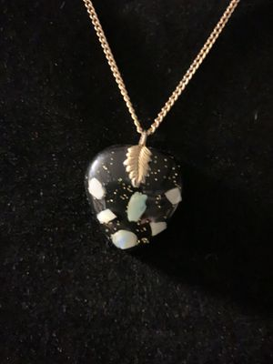 Vintage Heart Charm Black with Multi Color in Resin on Gold Tone Chain for Sale in Loma Linda, CA