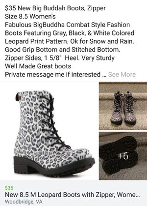 New 8.5 Women's Leopard Boots, Zip Sides for Sale in Dale City, VA