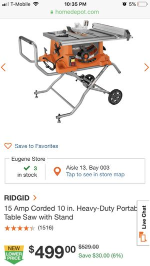 Ridgid HD Portable Table Saw for Sale in Springfield, OR