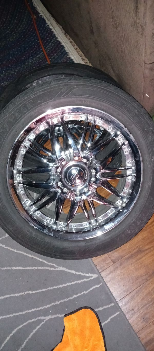 "4 17"" chrome rims & tires 5x112 tires 80% fits Mercedes vw audi"