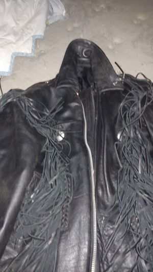 Amend leather jacket with fringes size 56 for Sale in Landis, NC
