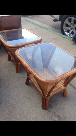 Pair of bamboo rattan awesome Endtables for Sale in San Diego, CA