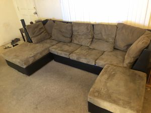 Microsuede Brown Suede Couch Sofa with Ottoman for Sale in Phoenix, AZ