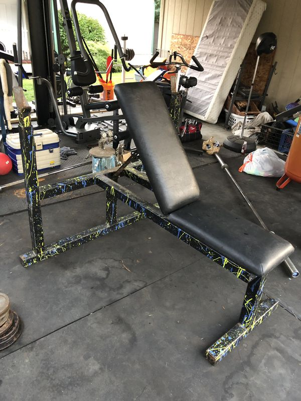 Weight set bench press with bar collars & Olympic weights