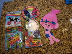 Trolls birthday party tableware and decoration for Sale in Ashburn, VA