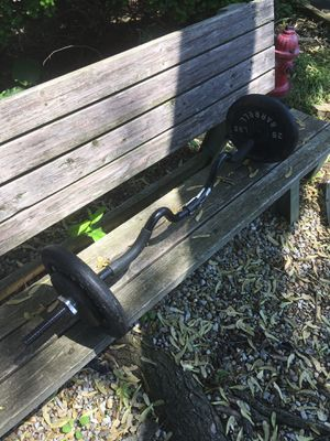 Curl bar with weights for Sale in Reynoldsburg, OH