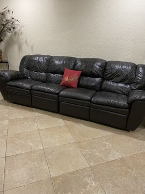 Genuine leather sectional recliner couch for Sale in Miami Shores, FL