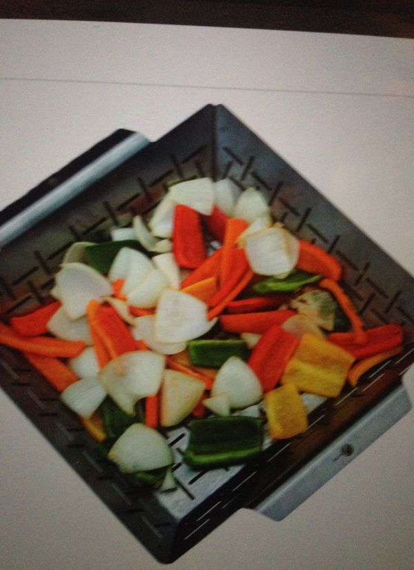 Vegetable grill basket- dishwasher safe stainless steel- large non stick BBQ grid pan for veggies meat fish shrimp and fruit- best barbecue wok toppe