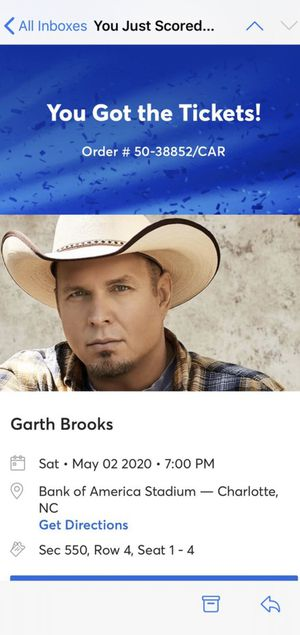2 aisle seats to see Garth Brooks! 200 for both for Sale in High Point, NC