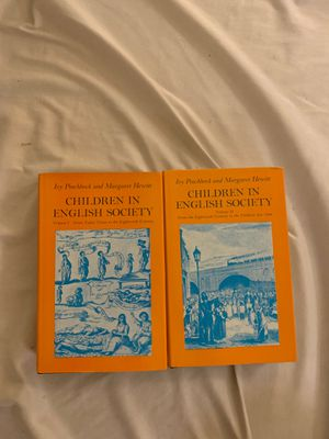 Children in English Society volume 1 and 2- by Ivy Pinchbeck and Margaret Hewitt- Printed 1972 and 1973 for Sale in Bellevue, WA