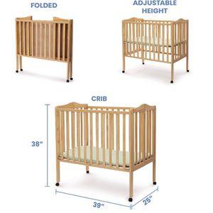 Delta Children Folding Portable Mini Crib with 1.5-inch Mattress, Natural for Sale in Hayward, CA