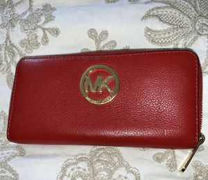 Michael Kors red leather wallet for Sale in Temecula, CA
