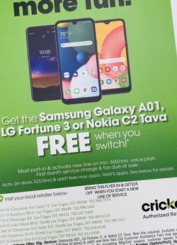 Get a FREE Android When You Switch to Cricket Wireless!! for Sale in Las Vegas,  NV
