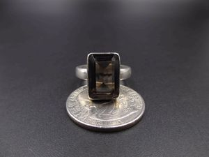 Vintage Size 6.5 Sterling Silver Rustic Large Smokey Quartz Band Ring Wedding Engagement Anniversary Cute Elegant Statement Everyday for Sale in Lynnwood, WA