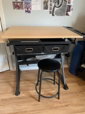 Large Art desk with sliding slide table for laptop/supplies. 2 drawers for supplies .In great condition. Small stool to go with table. Must pick up. for Sale in North Richland Hills, TX