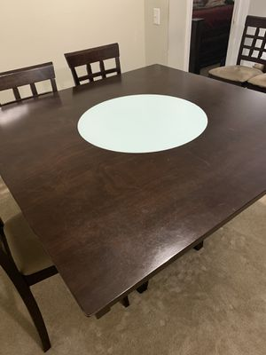 FREE CHAIRS- Dining Room Table with Wine Storage and Rotating center Glass for Sale in Raleigh, NC