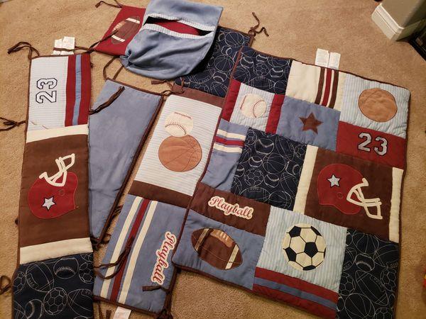 Sports theme crib bedding