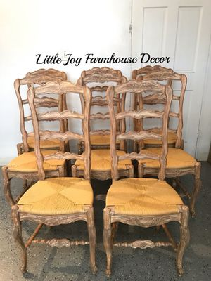 Antique French Rush Seat Chairs - Set of 8 for Sale in West Covina, CA