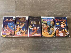 New Black Diamond Walt Disney VHS Aladdin Beauty Beast Fantasia Jungle for Sale in McKinney, TX
