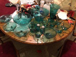 Antique ultramarine swirl depression glass set for Sale in Orlando, FL