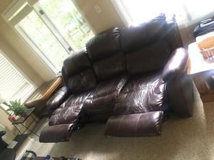 Brown leather recliner couch for Sale in Midlothian, VA