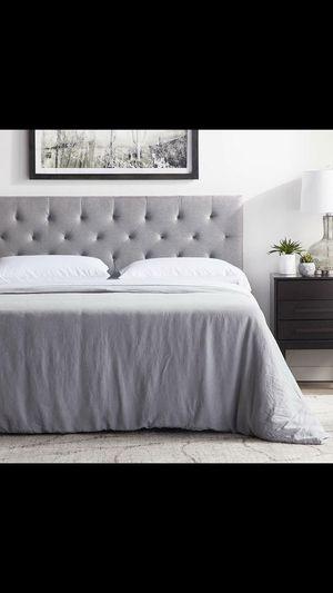 "King Size Bed Frame, Brand New Wayfair Headboard, Serta Perfect Sleeper 15"" Plush Mattress and Box Spring for Sale in Las Vegas, NV"