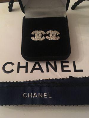 Channel cc diamond luxury post earrings for Sale in Orlando, FL