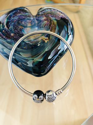 Absolutely Beautiful! 925 Sterling Silver Bangle and Owl Charm. Pandora Like Bracelet And Owl Charm. Pretty Design. New. for Sale in Federal Way, WA