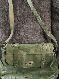 Green Leather Fossil Messenger Bag Purse for Sale in Canby,  OR