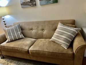Suede brown couch and pillows for Sale in Washington, DC