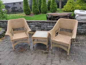Resin patio furniture - 4 chairs and 3 tables for Sale in Freehold, NJ