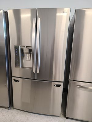 Lg stainless steel French door refrigerator used good condition with 90 days warranty for Sale in Mount Rainier, MD