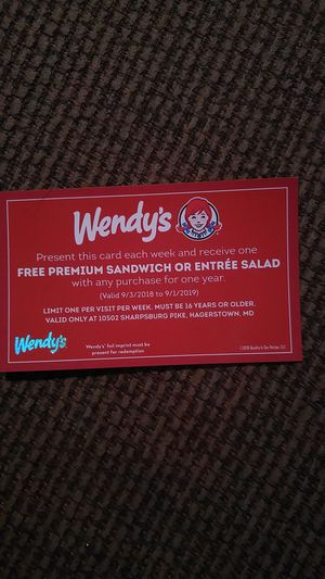 Free Wendy's for a Year Coupon for Sale in Sharpsburg, MD