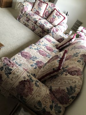Floral Fabric Sofa Set with Loveseat for Sale in Manassas, VA