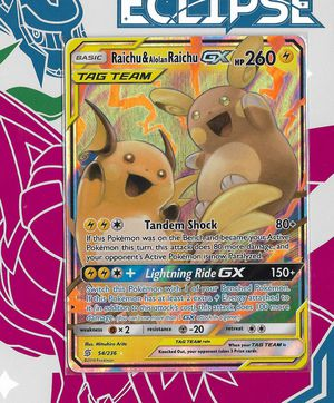 Pokemon: Raichu & Alolan Raichu GX Tag Team #54 (Unified Minds) + Build-Your-Own Booster! for Sale in Chesilhurst, NJ