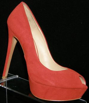 Zara Basic Red Suede Peep Toe Heels Pumps Size 10 for Sale in Palmdale, CA