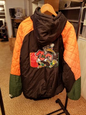 RARE Vintage XXL Starter Miami Hurricanes Mens Puffer Zipper Hoodie Coat Jacket 90's for Sale in Kissimmee, FL