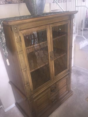 Antique Glass Wooden Book Shelf Cabinet. for Sale in Westminster, CO