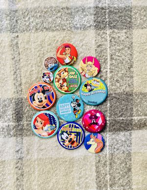 Disney button pins lot 12 pieces for Sale in Compton, CA